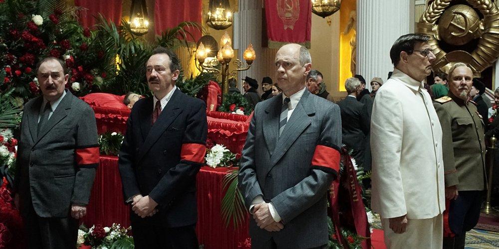 Dermot Crowley as Lazar Kaganovich, Paul Whitehouse as Anastas Mikoyan, Steve Buscemi as Nikita Khrushchev and Jeffrey Tambor as Georgy Malenkov in Armando Iannucci's The Death of Stalin