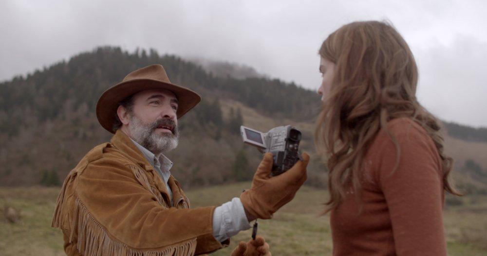 Jean Dujardin and Adèle Hanele in Quentin Dupieux's Deerskin