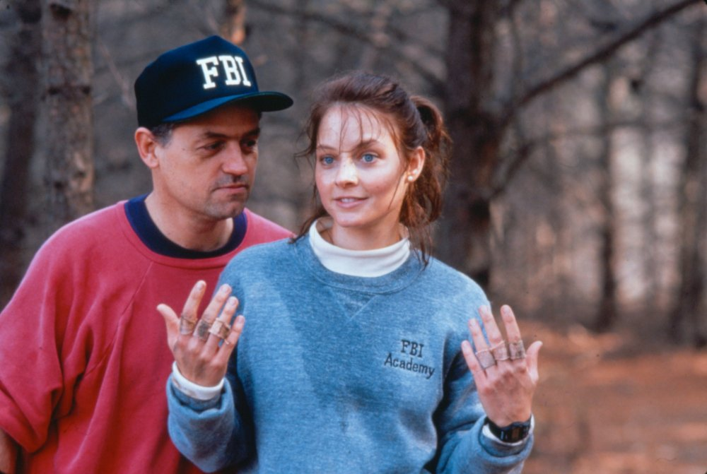 Demme and lead actor Jodie Foster filming The Silence of the Lambs (1991)