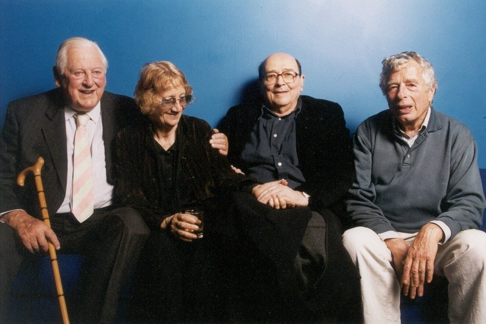 Former BFI director Dennis Forman, Lorenza Mazzetti, Karel Reisz and Walter Lassally at the NFT in 2001 during a special evening dedicated to Free Cinema