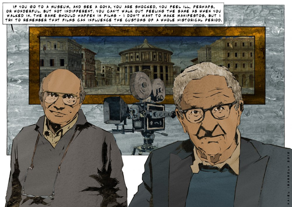 <strong>Francesco Rosi</strong> and <strong>Albert Maysles</strong>. Citations: Città ideale (attributed to Luciano Laurana or Melozzo da Forlì, 15th century); Quotation by Francesco Rosi from an interview with Gideon Bachmann (1965)