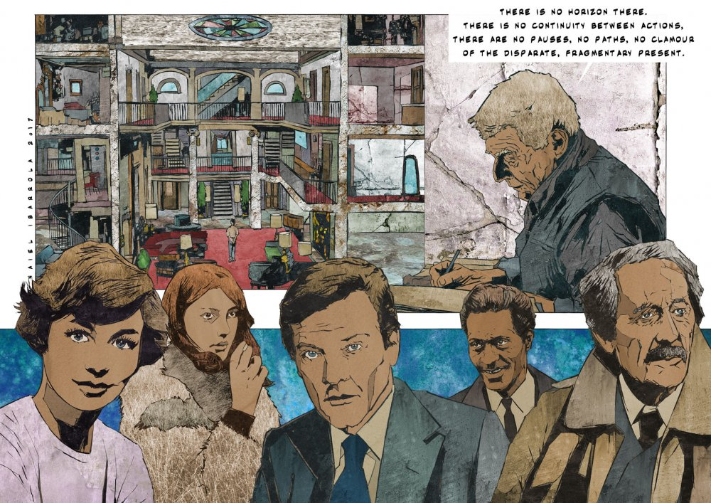 Left to right: Emmanuelle Riva, Anne Wiazemsky, Roger Moore, Chuck Berry, John Berger, Jean Rochefort
