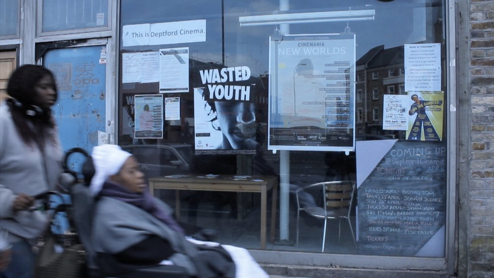 A frame from Edward Lawrenson's video report Deptford Cinema: One for All!