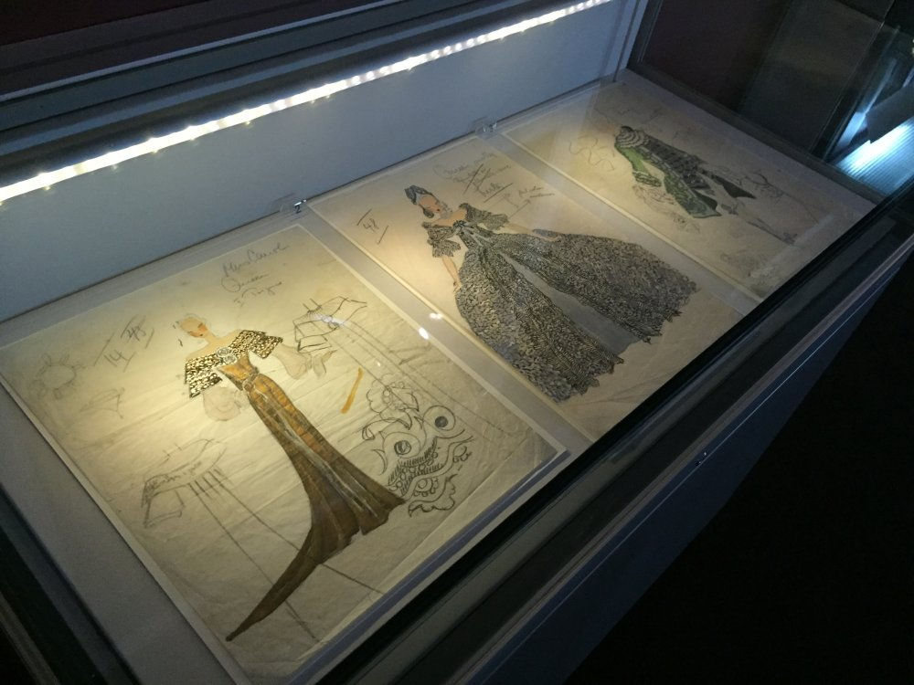 Joseph Strassner's sketches installed in the In Love with Costume exhibition at BFI Southbank's Mezzanine gallery