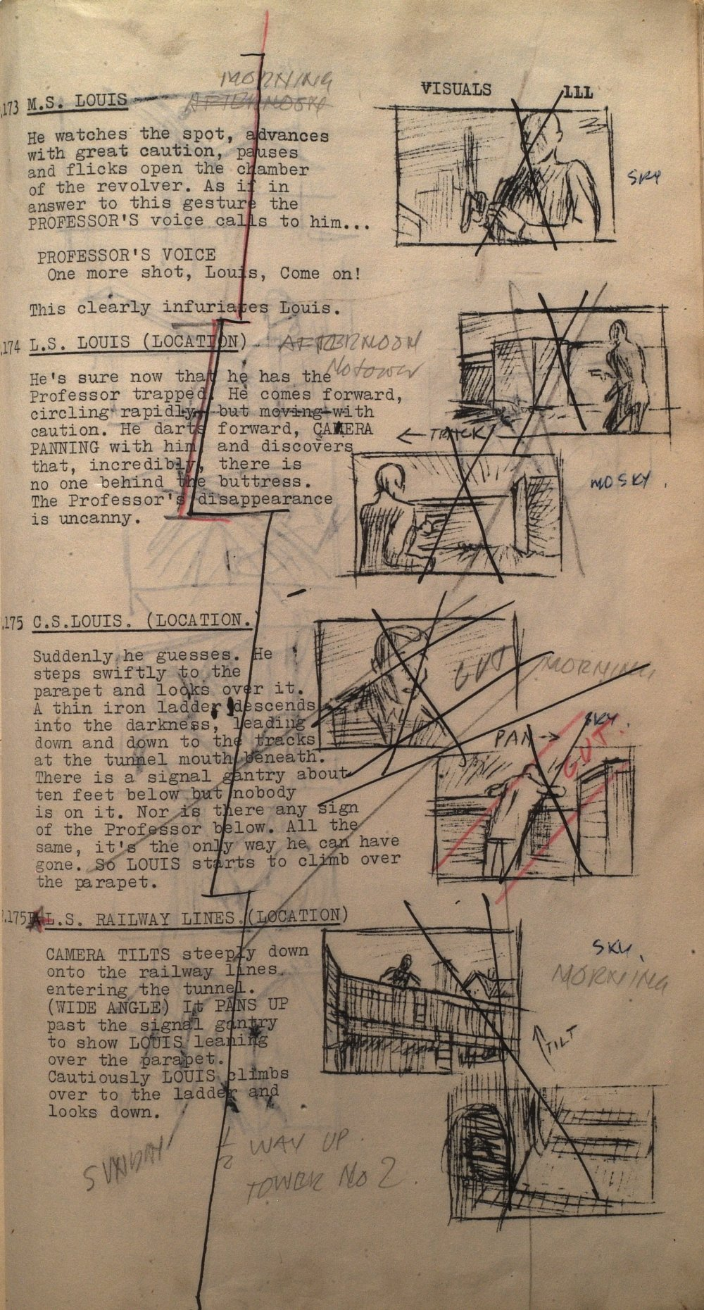 Director Alexander MacKendrick's annotated and storyboarded script for The Ladykillers