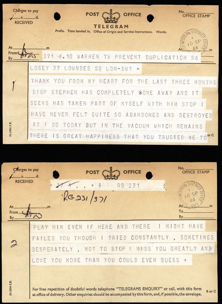 Telegram sent by Dirk Bogarde to Joseph Losey