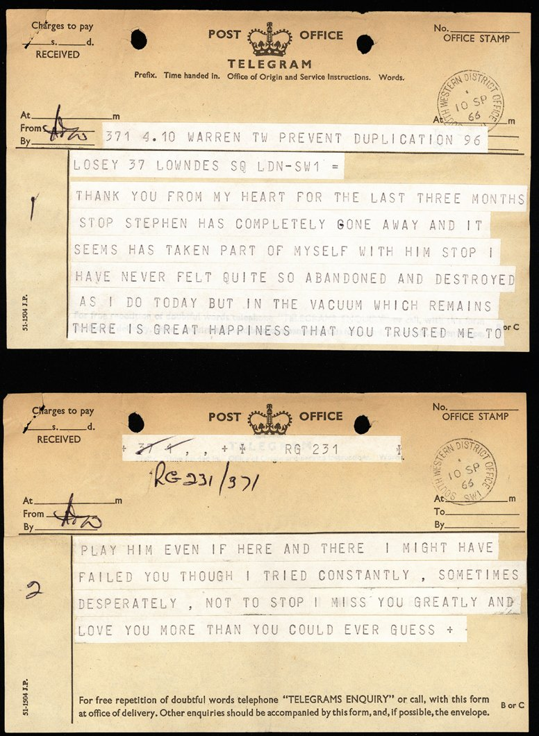 Telegram sent by Dirk Bogarde to Joseph Losey
