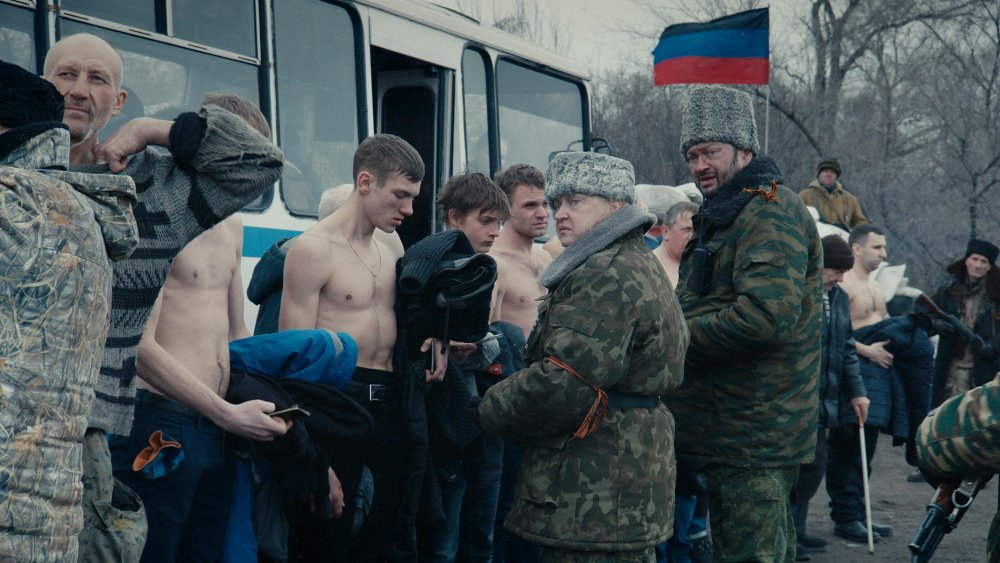 A crowd scene in Donbass
