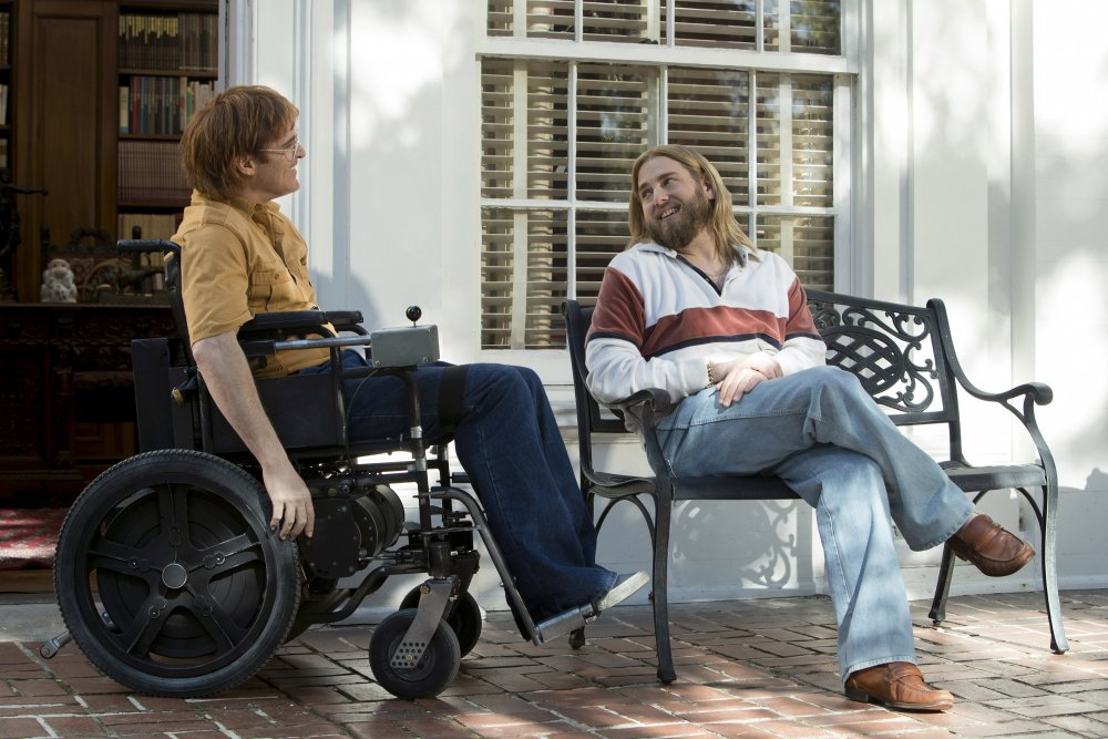Joaquin Phoenix as John Callahan and Jonah Hill as Donnie in Don't Worry, He Won't Get Far On Foot