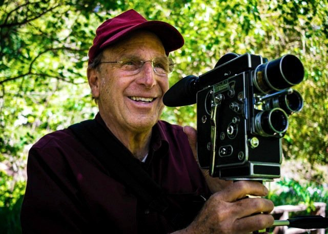 Nathaniel Dorsky with his 16mm Bolex film camera