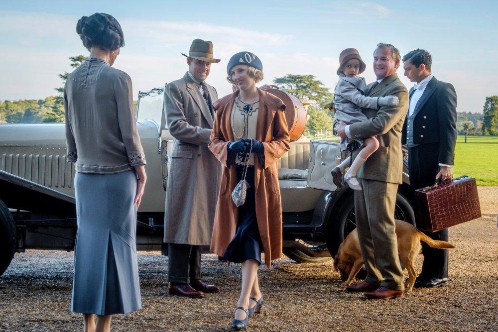 Elizabeth McGovern as Cora Crawley, Countess of Grantham; Harry Hadden-Paton as Bertie Pelham; Laura Carmichael as Lady Edith Crawley; Hugh Bonneville as Robert Crawley, Earl of Grantham; and Michael Fox as Andy Parker in Downton Abbey