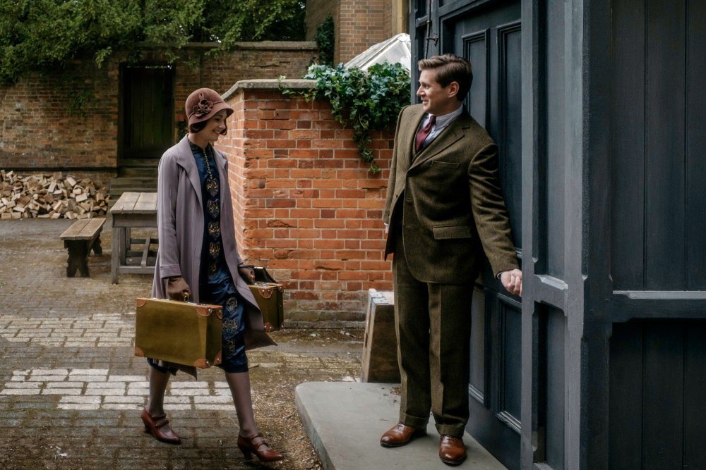 Tuppence Middleston as Lucy and Allen Leech as Tom Branson