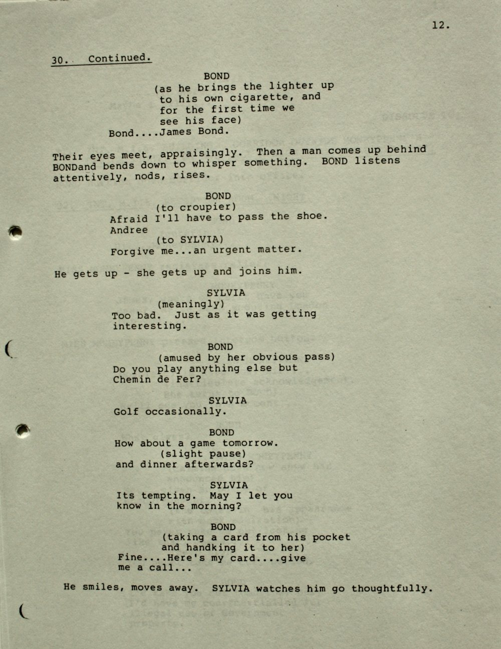 Fifth draft screenplay by Richard Maibaum, Wolf Mankowitz, and JM (Johanna) Harwood for Dr No (Eon Productions/MGM)