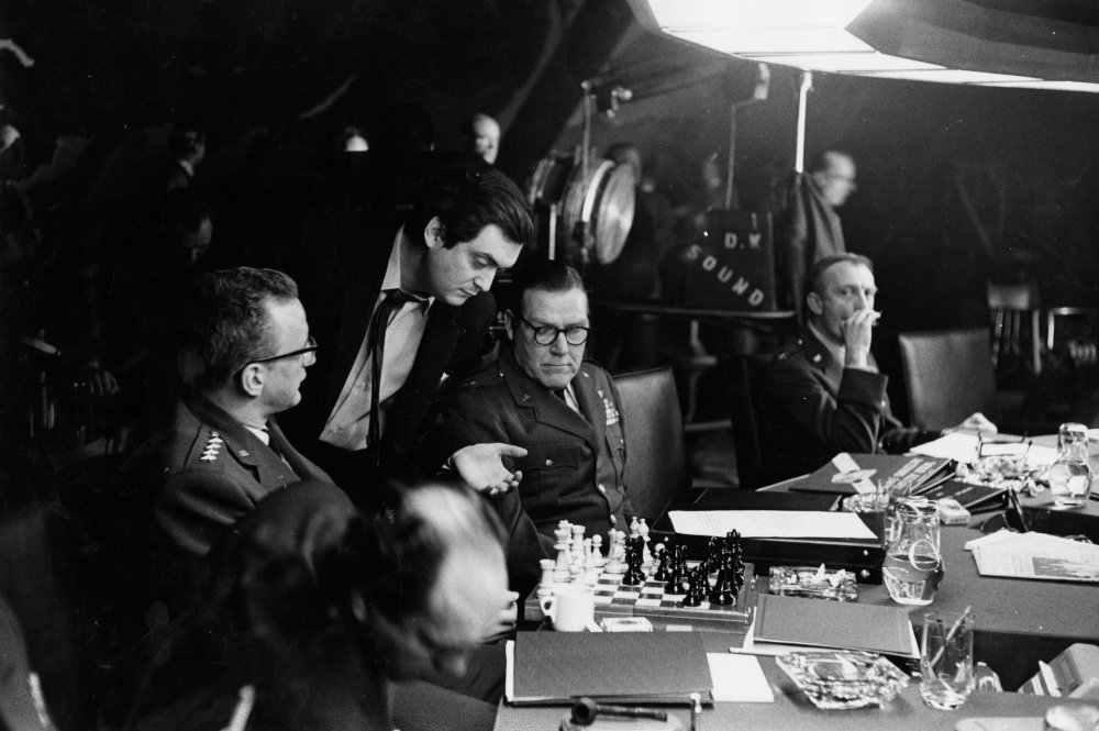 Playing chess in the war room.