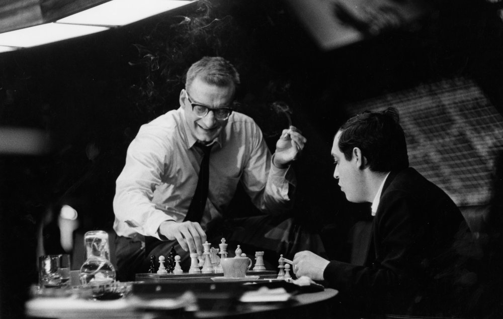 George C. Scott and Stanley Kubrick playing chess on set.
