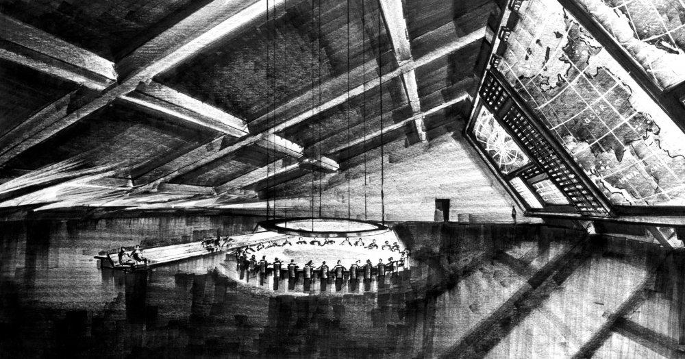 Ken Adam's production design for the war room