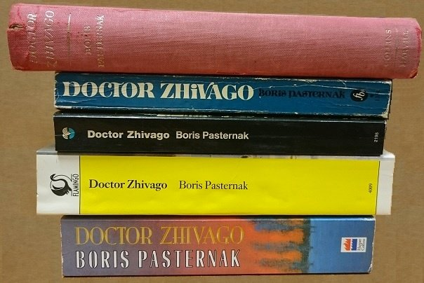 Various editions of Doctor Zhivago by Boris Pasternak