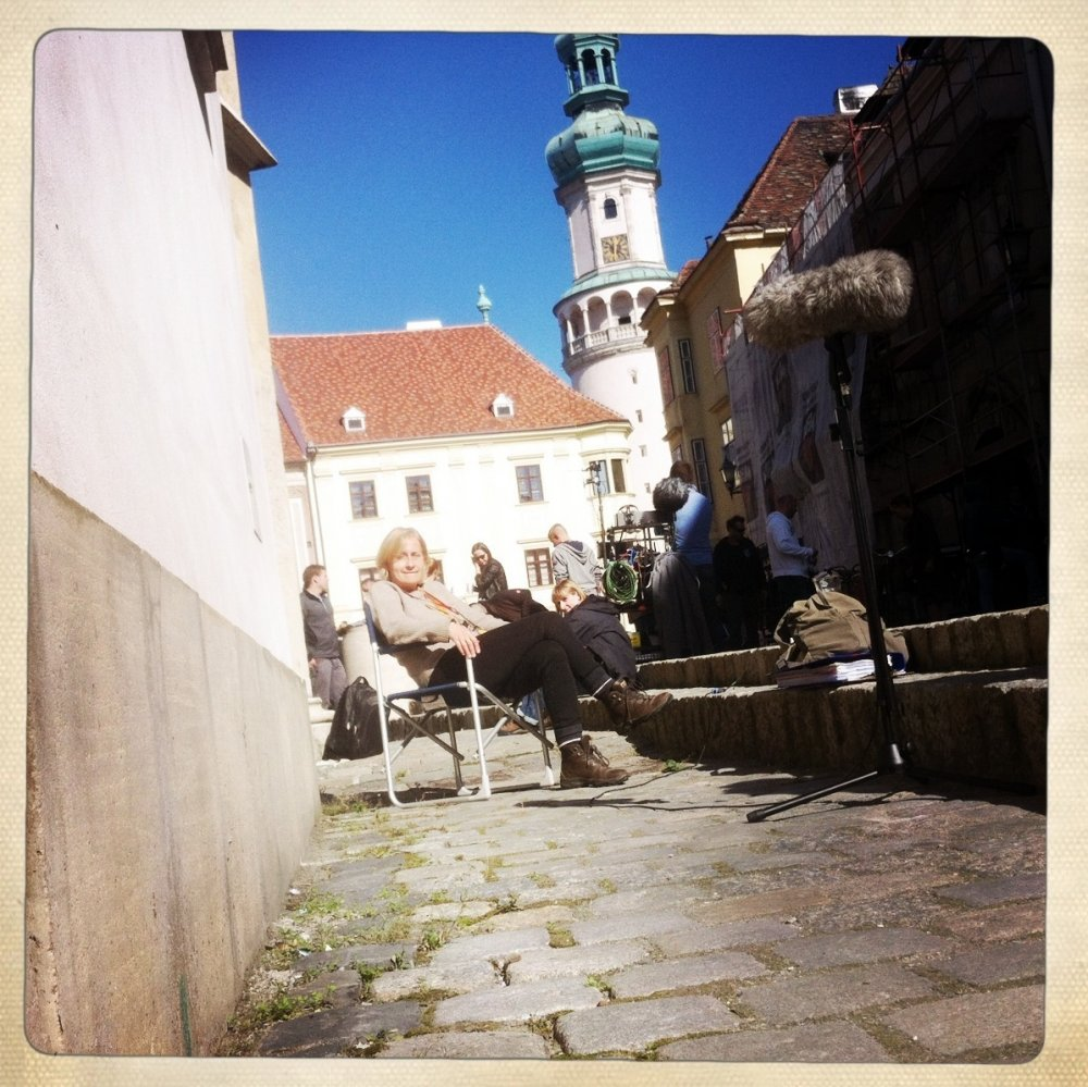 Script supervisor Carole Salisbury on set in Sopron
