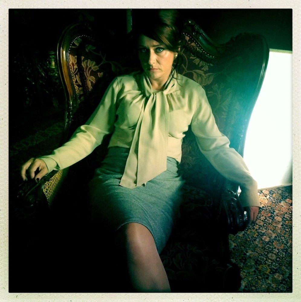 Sidse Babett Knudsen (Cynthia) between takes