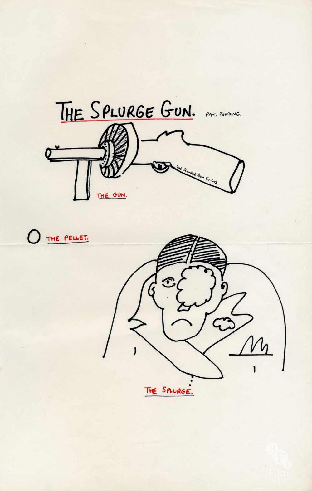 Early drawing of the Bugsy Malone 'splurge gun' by Alan Parker