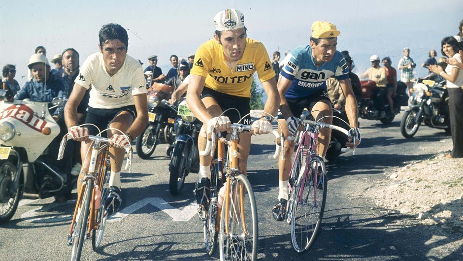 Eddy Merckx en route to winning his fourth Tour de France in 1972