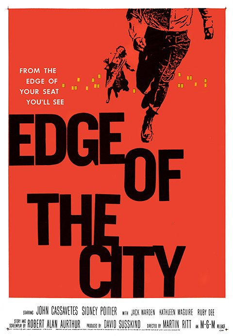 Edge of the City (1957) portrayed an interracial friendship (between Sidney Poitier and John Cassavetes) and showed a black man in a position of authority. Saul Bass was reportedly instructed by the studio to avoid any indication of this in his design.