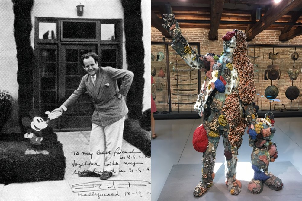 Mickey Mouse with Sergei Eisenstein; a sculpture from Treasures from the Wreck of the Unbelievable (2017)