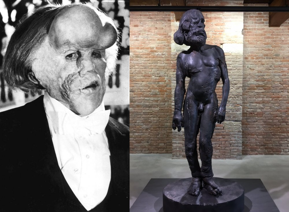 John Hurt as The Elephant Man (1980); a sculpture from Treasures from the Wreck of the Unbelievable (2017)