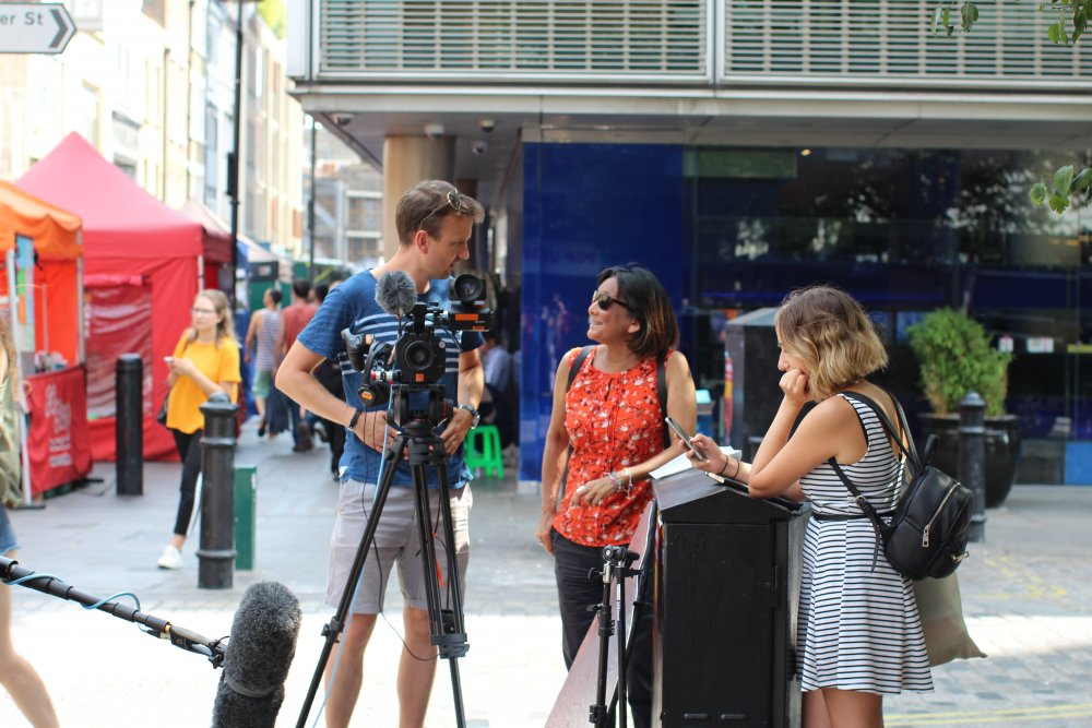 Embolden filming in central London: director Stuart Milton (left), head of film Rebecca Denholm (centre)