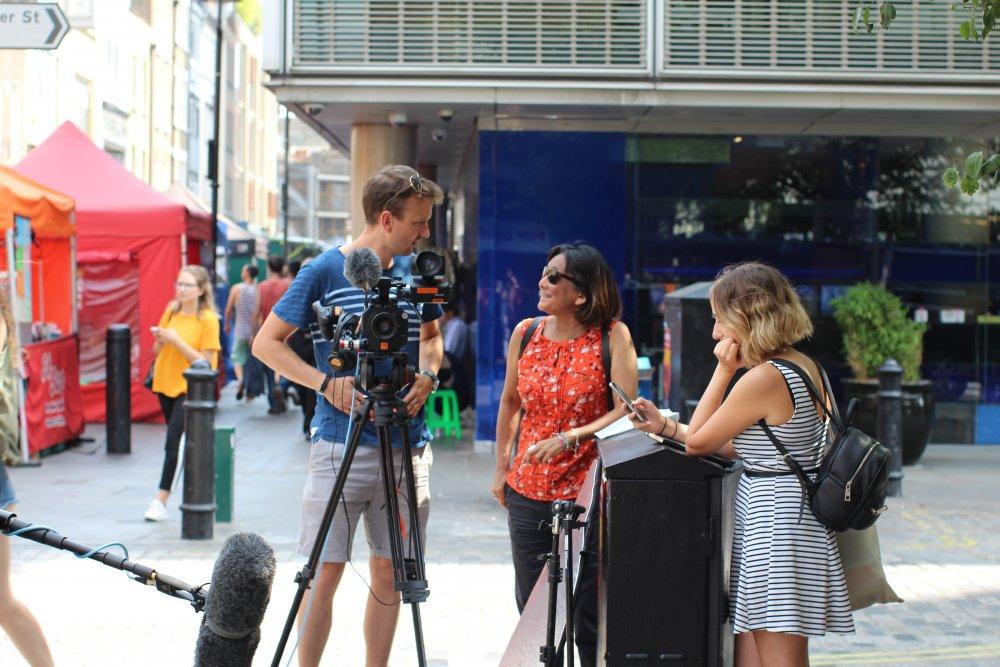 Embolden filming in central London: director Stuart Milton (left), head of film Rebecca Denholm (centre)