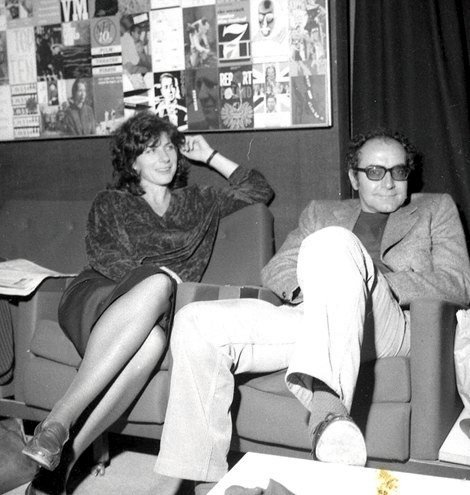 Pam Engel with Jean-Luc Godard in London in the 1980s