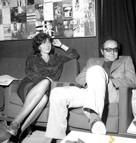 Pam Engel with Jean-Luc Godard in London in the 1980s