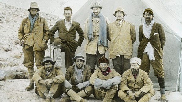 Members of the 1924 Everest expedition in one of John Noel's hand-tinted images
