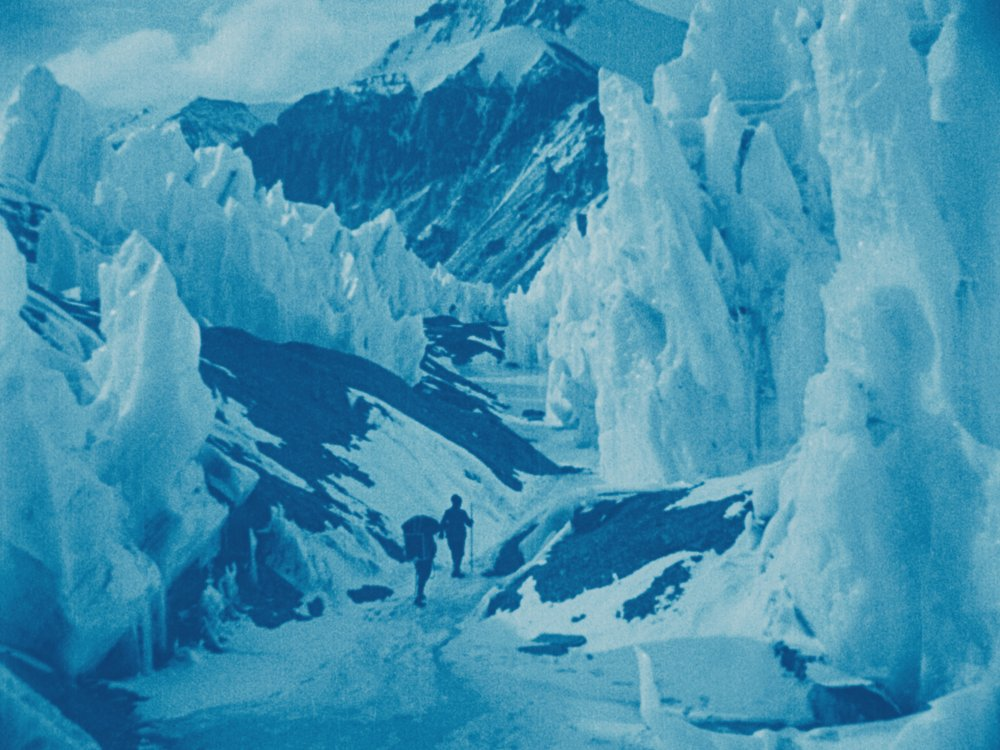 An icefield on Everest, one of John Noel's hand-tinted images