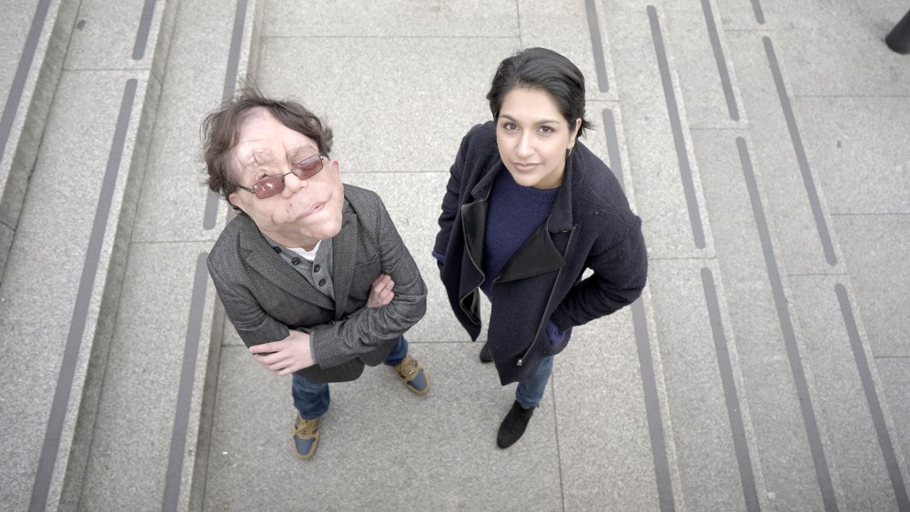 Adam Pearson with Angela Saini presenting Eugenics: Science's Greatest Scandal (2019)