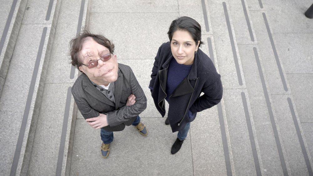 Adam Pearson with Angela Saini presenting Eugenics: Science's Greatest Scandal (2019)