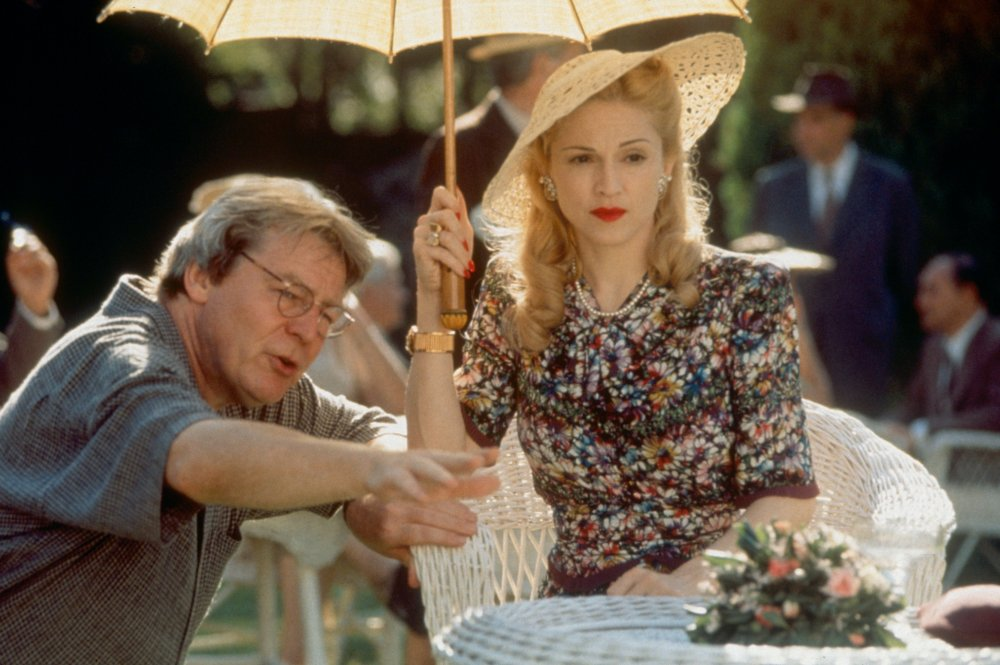 Sir Alan Parker with Madonna on the set of Evita (1996)