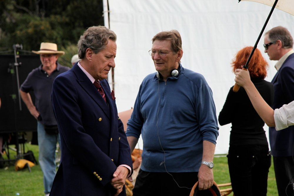 Fred Schepisi directing Geoffrey Rush on the set of The Eye of the Storm