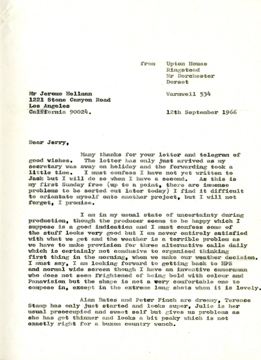 Letter to Jerome Hellman in L.A  from John Schlesinger on location in Dorchester