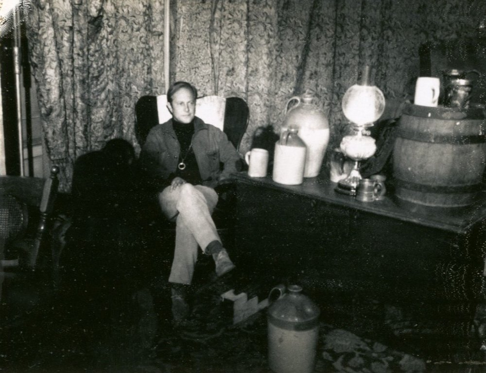 Director of photography Nicolas Roeg on set in Bathsheba's parlour. Polaroid from continuity script