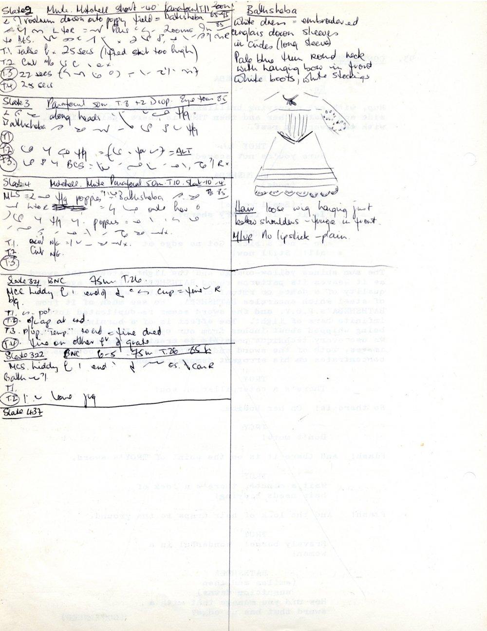Ann Skinner's continuity notes for Julie Christie's white dress