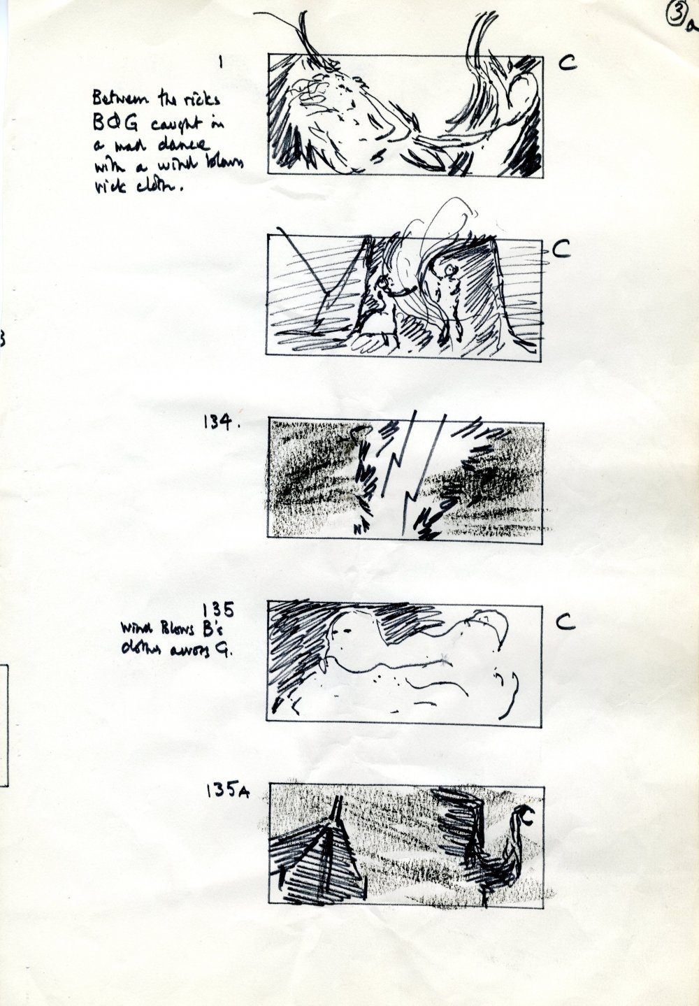 A page of director John Schlesinger's storyboarding for the sequence where Gabriel Oak and Bathsheba battle with the storm to cover the hay ricks with cloths
