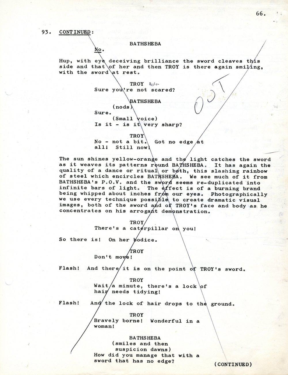 Early draft of sword scene