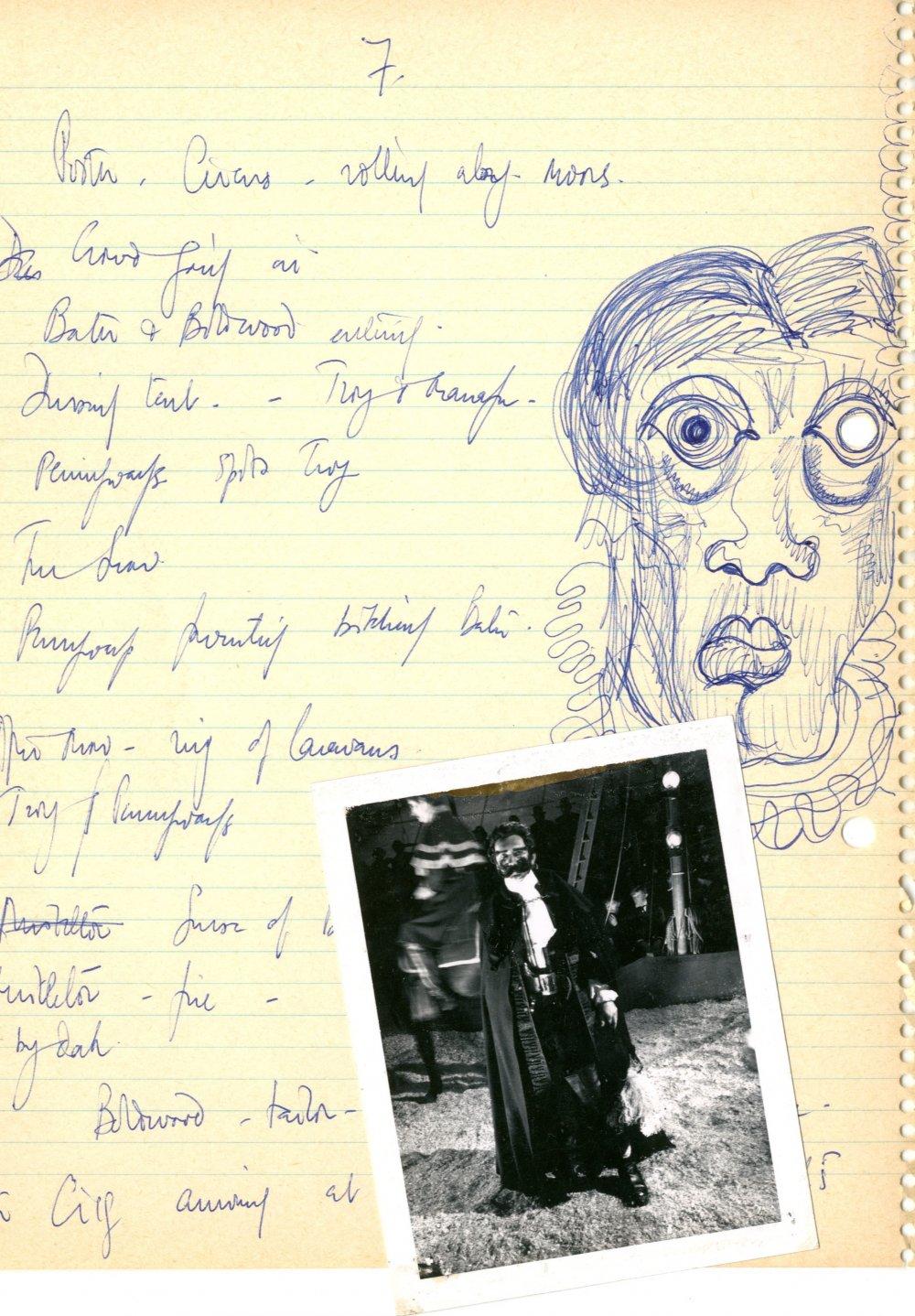 Schlesinger's handwritten and illustrated scene breakdown, alongside a continuity polaroid of Troy as Turpin