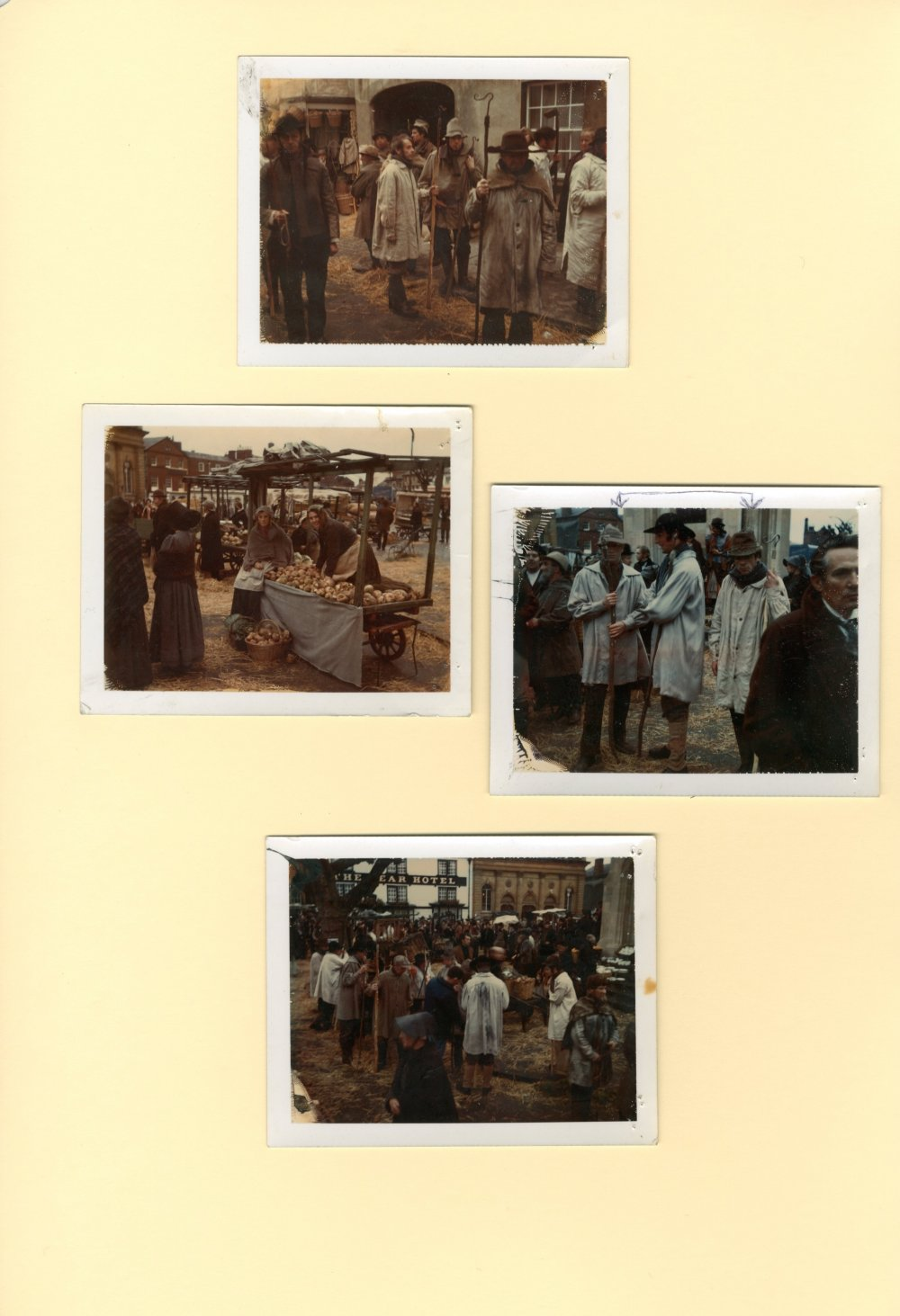 Continuity polaroids of extras in the hiring fair at Casterbridge recreated in the market square at Devizes, Wiltshire
