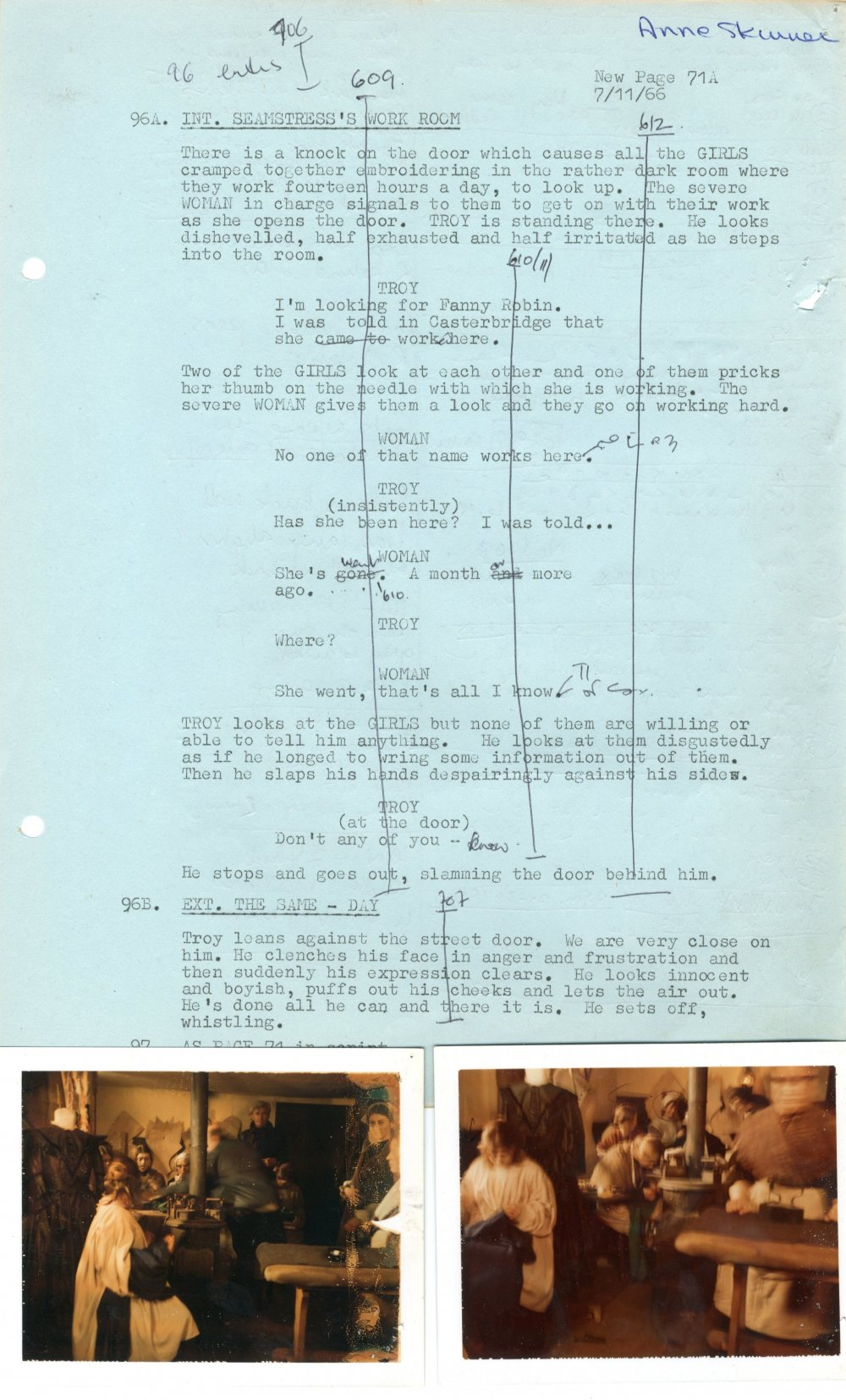 Deleted 'seamstress' scene from the continuity script