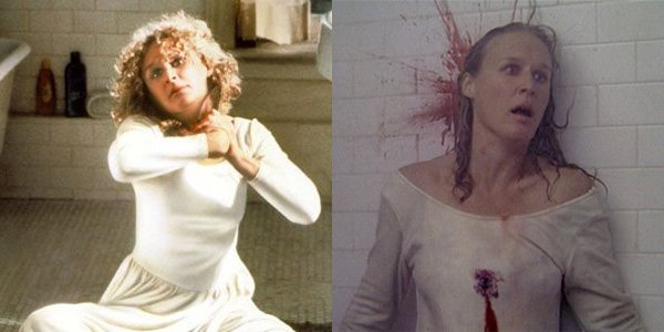 The two deaths of Alex Forrest – the first cut (left), and the cinema release ending