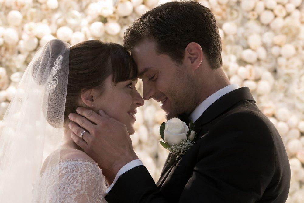 Dakota Johnson and Jamie Dornan as Anastasia and Christian Grey in Fifty Shades of Grey