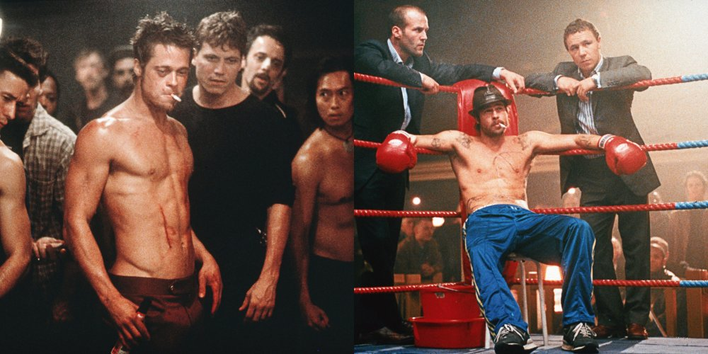 Left: as Tyler Durden in Fight Club; right: as Mickey One Punch O'Neil in Snatch