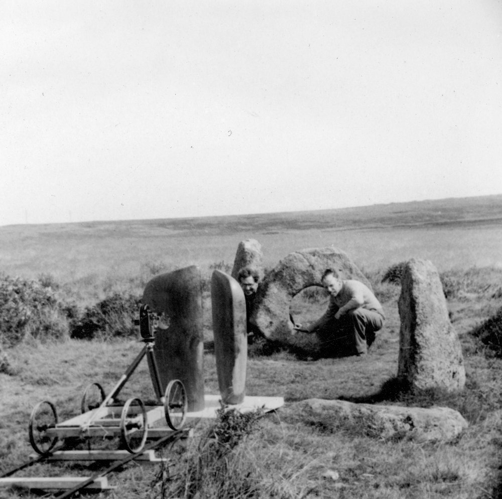 Hepworth's Forms in Echelon 1938 at the Men-an-Tol Cornwall during filming of Figures in a Landscape (1953)